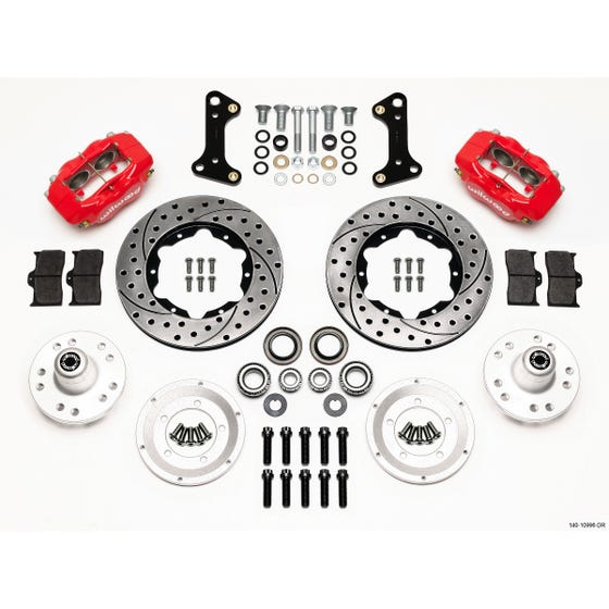 GM Front Disc Brake Kit | 1967-72 Camaro / Nova FDLI 11.00 | Drilled Slotted Red