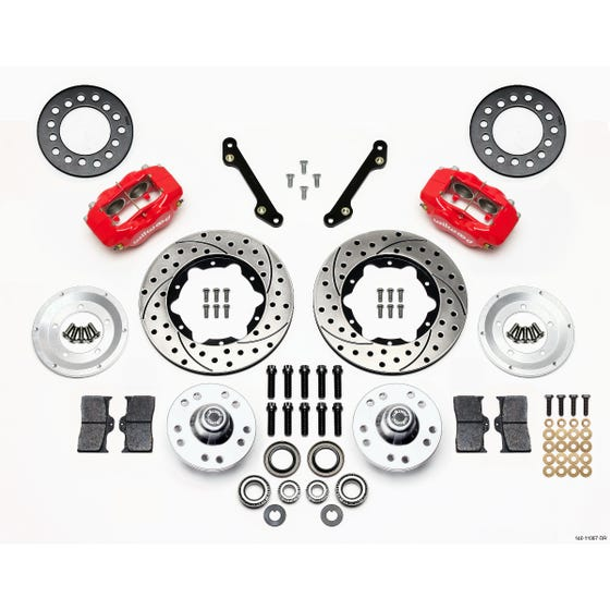 GM Front Disc Brake Kit | 1970-78 Camaro FDLI 11.00 | Drilled Slotted Red