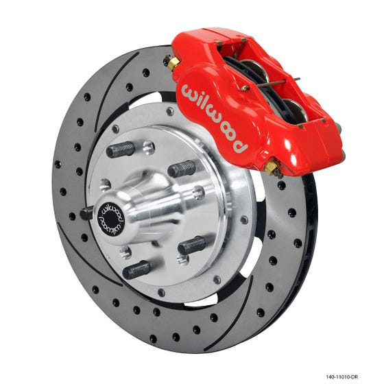 GM Front Disc Brake Kit | 1955-57 Chevy FDLI 11.75 | Drilled Slotted Red