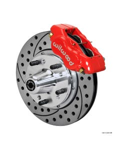 MOPAR Front Disc Brake Kit | 1962-72 B&E body FLDI with drum | Drilled Slotted Red