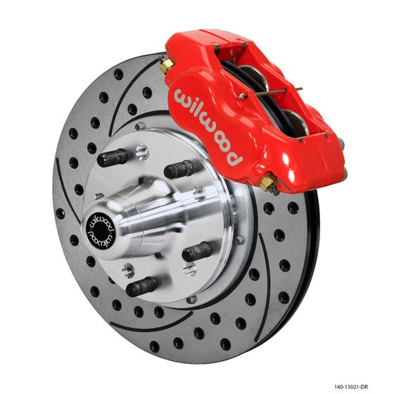 MOPAR Front Disc Brake Kit | 1962-72 B&E body FLDI with disc | Drilled Slotted Red