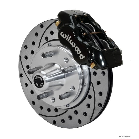 MOPAR Front Disc Brake Kit | 1962-72 A-body with 9in drum FDLI | Drilled Slotted Black