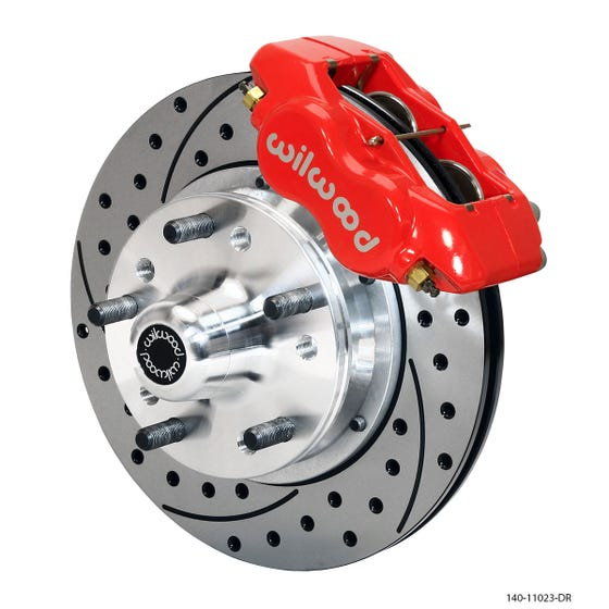 MOPAR Front Disc Brake Kit | 1965-72 A-body with 10in drum FDLI | Drilled Slotted Red