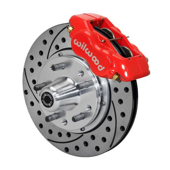 Ford Front Disc Brake Kit | 1970-73 Mustang FDLI 11.00 | Drilled Slotted Red