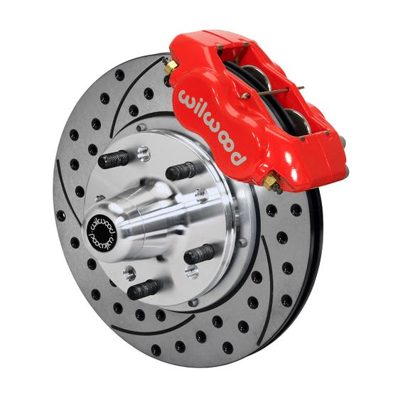 GM Front Disc Brake Kit | 1969-70 Impala with drum & 1968-70 with Disc | Drilled Slotted Red