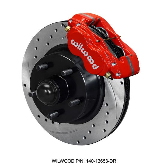 Ford Front Disc Brake Kit | 1960-68 Galaxie drum spindle | Drilled Slotted Red