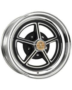 "15x7 1967 Shelby Magstar | 5x4 1/2"" bolt | 4.00"" backspace | Aluminum Center/Chrome Outer finish"