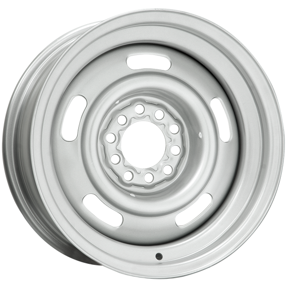 "15x8 Chevy Rallye | 5x4.5/5x4.75"" bolt | 4"" backspace | Silver Powder Coat finish *SpOrd"
