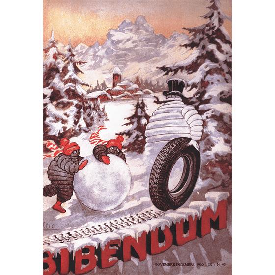Poster | Michelin | Vintage Bib the Snowman