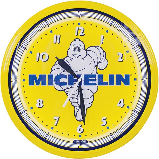 Clock | Michelin Vintage Style Neon | Mr. Bib Running with Logo