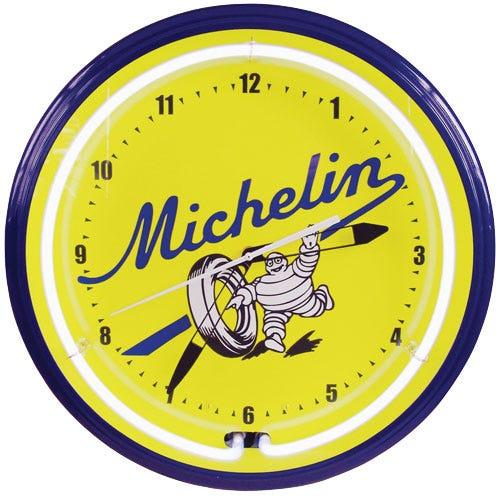 Clock | Michelin Vintage Style Neon | Vintage Michelin Script Logo