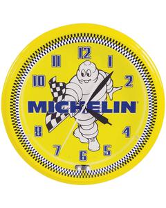 Clock | Michelin Vintage Style Neon | Mr. Bib Waving Checkered Flag