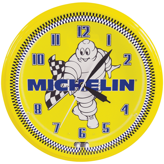Clock | Michelin Vintage Style Neon | Mr. Bib Waving Checkered Flag