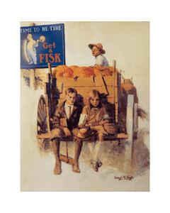 Poster | Fisk | Kids on Pumpkin Cart