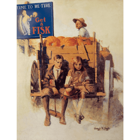 Poster | Fisk | Kids on Pumpkin Cart