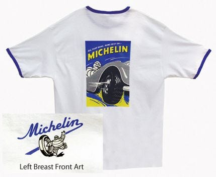 All That Runs Michelin T-shirt | White, Royal Trim | Medium