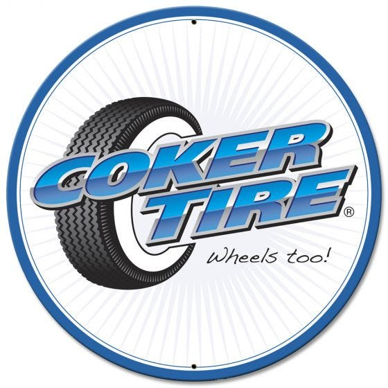 Coker Tire Round Metal Sign