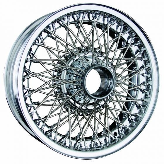 Dayton Wire Wheel-Jaguar-E-Type I, 3.8 Saloon-Tube Type-15x5-72-Chrome