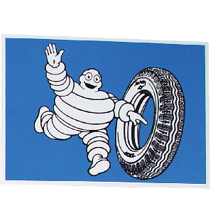 Postcard | Michelin | Bib rolling a Tire