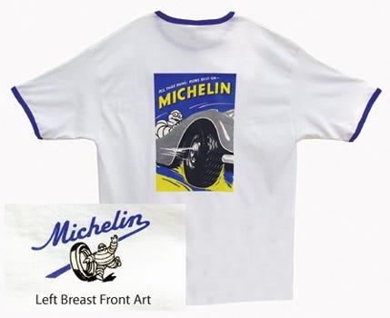 All That Runs Michelin T-shirt | White, Royal Trim | Small