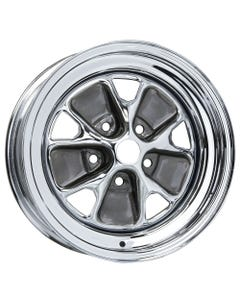"15x6 Ford Styled Steel | 5x4 1/2"" bolt | 4.00"" backspace | Chrome finish"