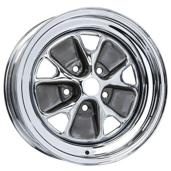 "15x7 Ford Styled Steel | 5x4 1/2"" bolt | 4.25"" backspace | Chrome finish"