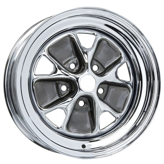 "14x7 Ford Styled Steel | 5x4 1/2"" bolt | 4.25"" backspace | Chrome finish"