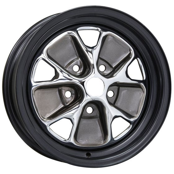 "14x5 1/2 Ford Styled Steel | 5x4 1/2"" bolt | 4.00"" backspace | Chrome center, black outer rim"