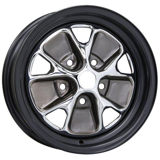 "14x5 Ford Styled Steel | 5x4 1/2"" bolt | 3.75"" backspace | Chrome center, black outer rim"