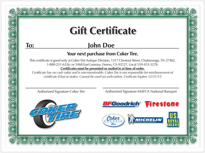 Coker Tire Gift Certificate