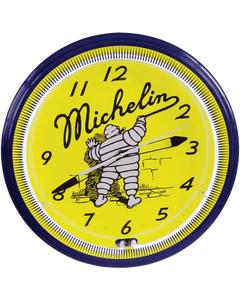 Clock | Michelin Vintage Style Neon | Mr. Bib Writing on the WaIl
