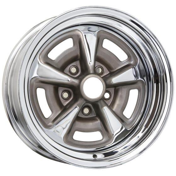 "15x7 Pontiac Rallye II | 5x4 3/4"" bolt | 4.00"" backspace | Chrome finish"