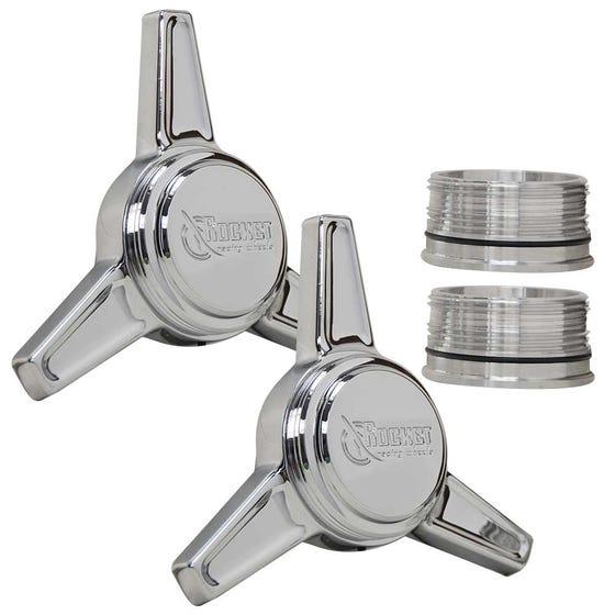 Rocket Spinner Caps (pair R&L) | Flat | Chrome Finish