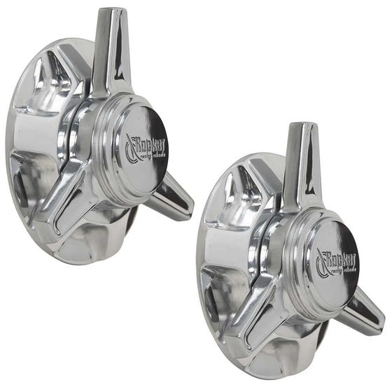 Rocket Fire/Solid Knockoff Lug Covers (pair) | Flat | Polished Finish