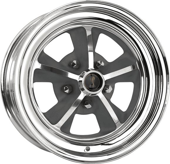 "15x7 1969 Shelby | 5x4 1/2"" bolt | 3.88"" backspace | Aluminum Center/Chrome Outer finish"
