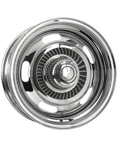 "15x7 Chevy Rallye | 5x4 3/4"" bolt | 4.25"" backspace | Chrome finish"