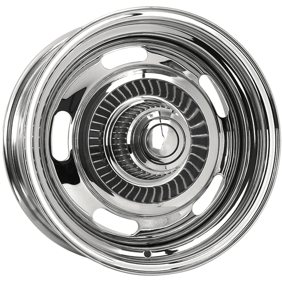 "16x10 Chevy Rallye | 5x4 1/2, 5x4 3/4 "" bolt | 5.00"" backspace | Chrome finish"