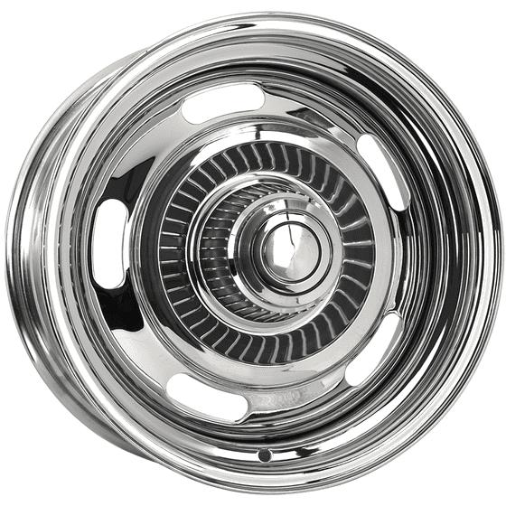 "16x8 Chevy Rallye | 5x4 1/2, 5x4 3/4 "" bolt | 4.00"" backspace | Chrome finish"