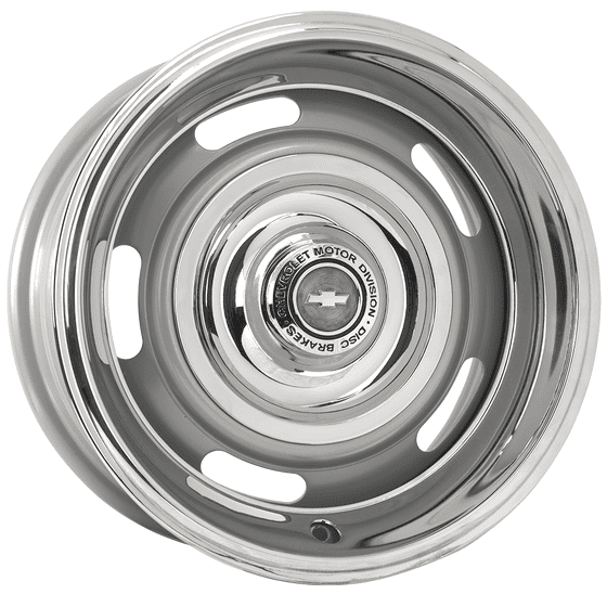 "16x7 Chevy Rallye | 5x4 1/2, 5x4 3/4 "" bolt | 4.00"" backspace | Silver Powder Coat finish"
