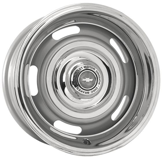"16x8 Chevy Rallye | 5x4 1/2, 5x4 3/4 "" bolt | 5.00"" backspace | Silver Powder Coat finish"