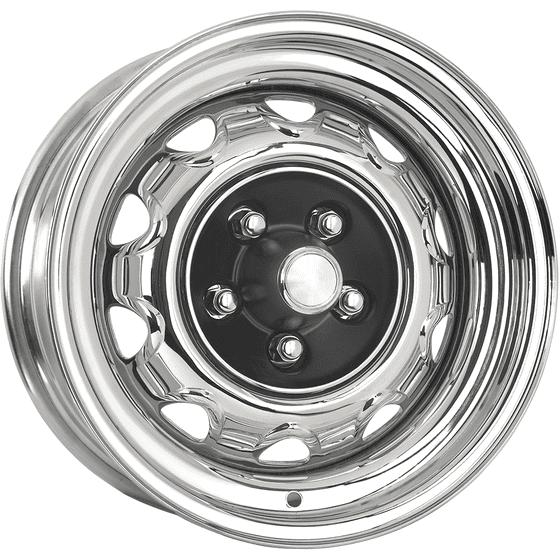 "15x7 Mopar Rallye | 5x4"" bolt | 4.25"" backspace | Chrome finish"