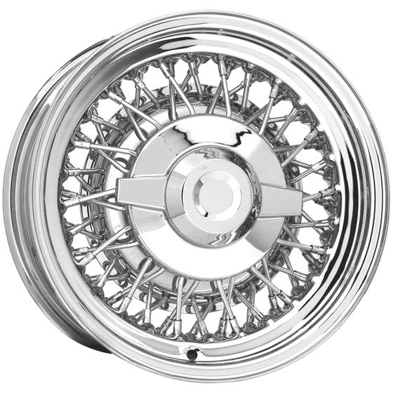 "15x6 Chrysler Wire | 5x4 1/2"" bolt | 3.00"" backspace | Chrome/Stainless Spokes finish"