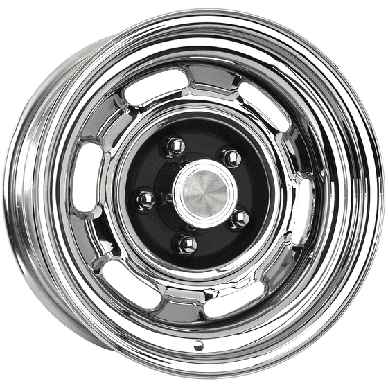 "15x6 Pontiac Rallye I | 5x4 3/4"" bolt | 4.25"" backspace | Chrome finish"