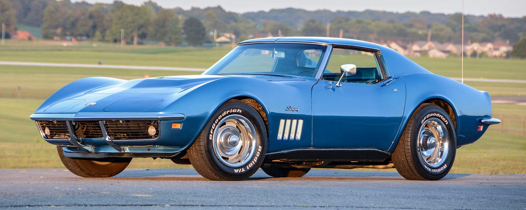 1969 Chevrolet Corvette Stingray with BF Goodrich Radial T/A Raised White Letter tires.