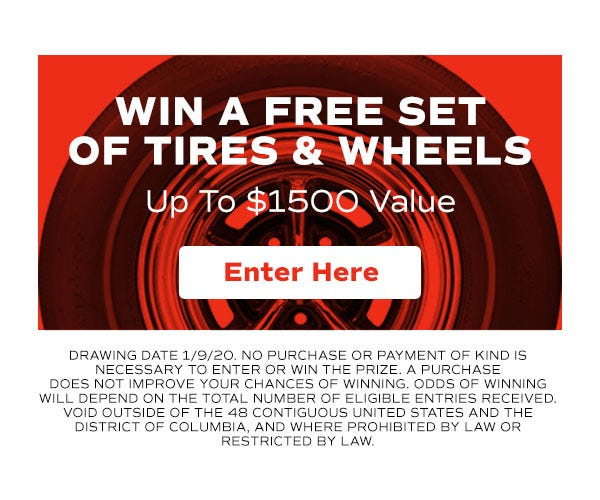 Sign Up to Win a Set of Tires & Wheels from Coker Tire Company.