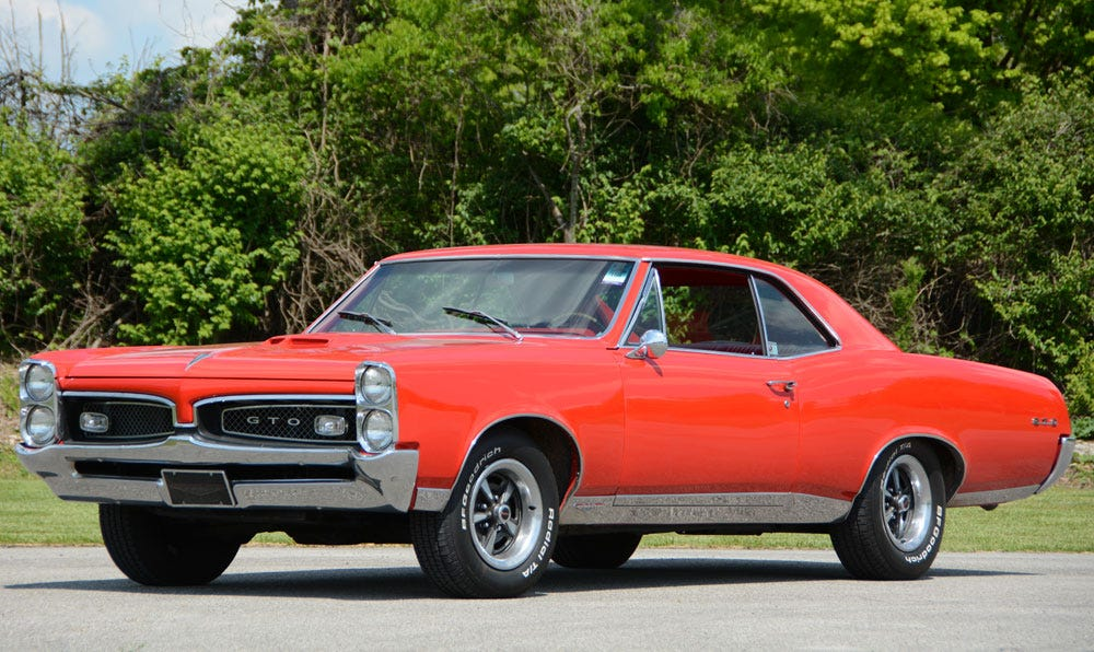 Classic 1967 Pontiac GTO with BF Goodrich Radial T/A Tires from Coker Tire Company.