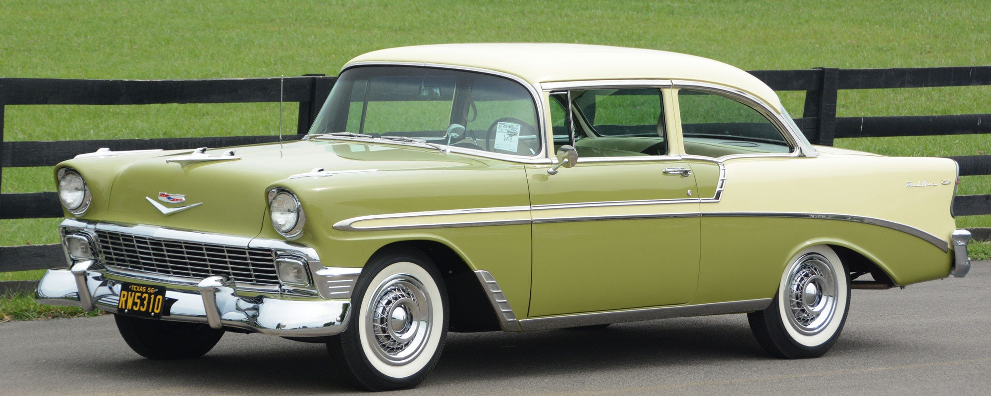 1956 Chevrolet Bel Air 2 Door Post with bias ply whitewall tires