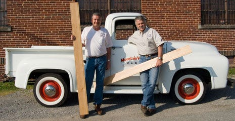 Corky and Jeff sport he new bed wood kit for the 1953 F100