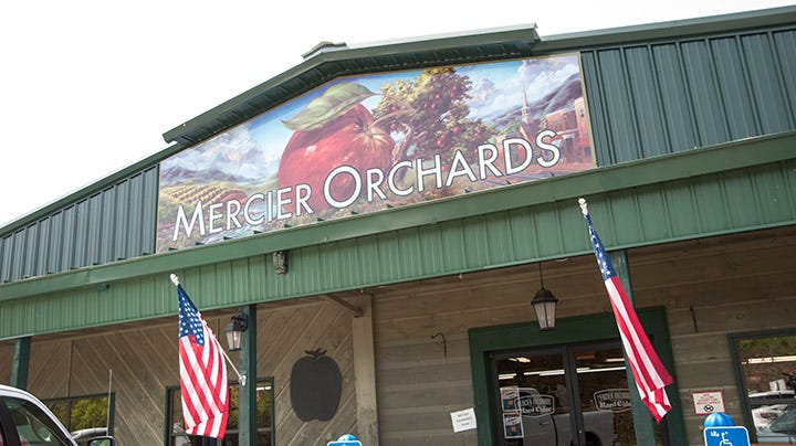 Mercier Orchards Established 1943 was lunch stop on the tour