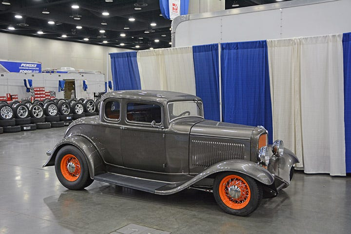 The 2015 NSRA Give Away car, built by Reisinger Custom Rebuilding, rolls on BFGoodrich Radial T/A tires from Coker Tire. The full fendered coupe sits perfectly, and features a cool color combo!